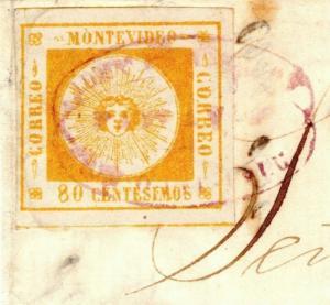 F13c Uruguay CLASSIC *El Sol* SUN ISSUE 1859 80c Orange Part Cover SG.9 cat £900