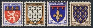 France 460-463, MNH. Coat of Arms: Lyon, Brttany, Provence, Ill de France,1943