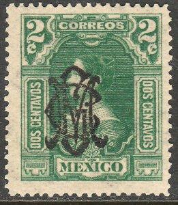 MEXICO 456, 2¢ VILLA MONOGRAM REVOLUT OVPERPRINT MINT, NH. VF.
