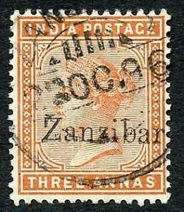 Zanzibar SG10 3a brown-orange Small second Z and inverted Q for B used
