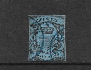 OLDENBURG 1859  1gr  BLUE  FU  IMPERF  Mi 6
