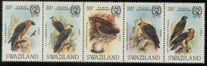 SWAZILAND Sc#427 Strip of 5 1983 Lammergeyer Bearded Vultures Cpl Set OG Mint NH