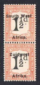 South West Africa 1926 Postage Due 1½d pair SG D24 mint CV £50