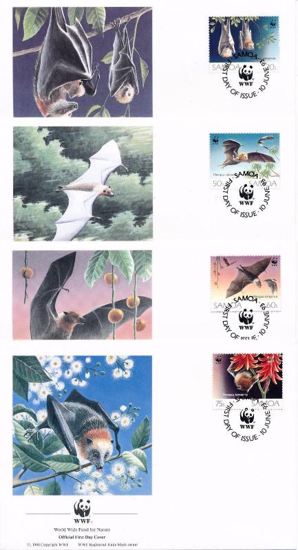 [54143] Samoa 1993 Wild animals Mammals WWF Flying dogs FDC 4 covers