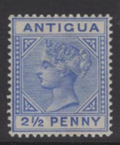ANTIGUA SG27a 1887 2½d ULTRAMARINE 2 WITH SLANTING FOOT TYPE B MTD MINT