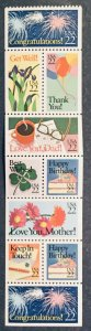 US #2267-2274 MNH DG Booklet Pane of 10 Special Occasions SCV $9.00 L25