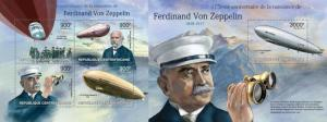 Z08 CA13216ab Central Africa 2013 Ferdinand Von Zeppelin SET Postfrisch ** MNH