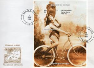 Niger 1999 Marilyn Monroe in Bicycle  S/S (1) Imperforated  F.D.C.