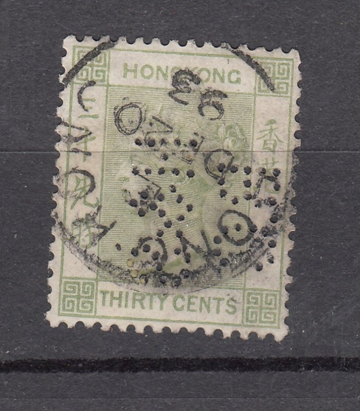 J28268 1882-1902 hong kong used perfin son #47 queen wmk 2