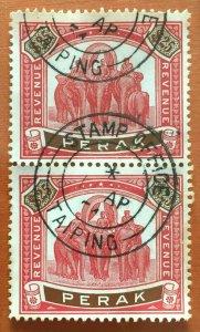RARE MALAYA PERAK 1950 Elephants & Howdah $25 REVENUE Pair Used M3304