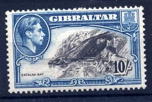Gibraltar 1938 sg 130a 10/- blk and blue, perf 13, fine lm