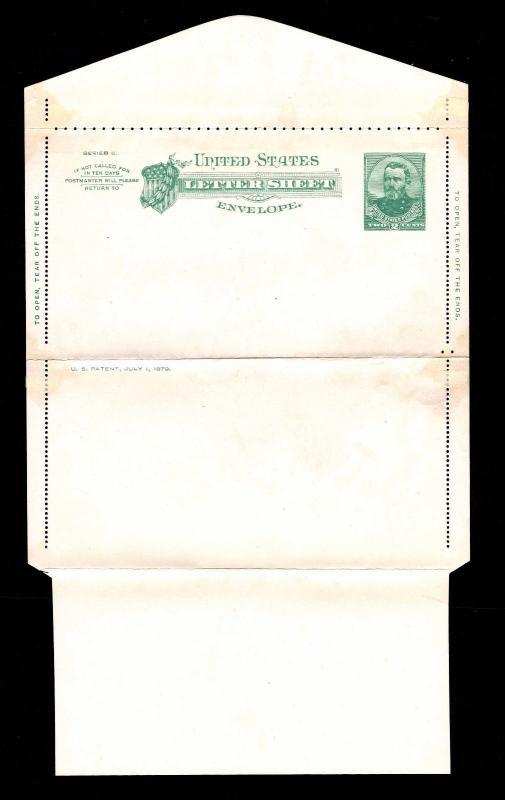 1886 U.S.# U293 GRANT SERIES 6 LETTER SHEET ENVELOPE   UNUSED   VF