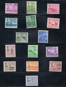 MAURITIUS # 235-249 VF-MNH KGV1 ISSUES TO 10 Rupees CAT VALUE $84
