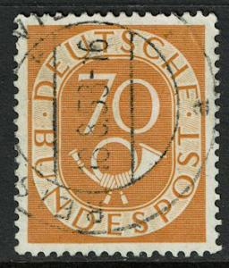 Germany 683 Used - Numeral and Post Horn 70pf deep yellow (1952)