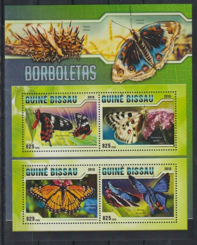 Guinea-Bissau MNH S/S Colorful Butterflies Insects 2016