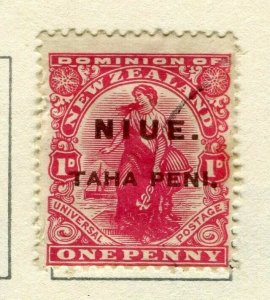 NIUE; 1902 surcharged issue used 1d. value