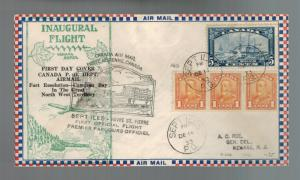 1933 Canada Sept Iles Havre St Pierre First Flight Cover FFC 3 Coil strip # 160