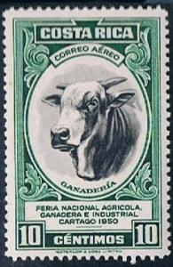 Costa Rica C201, 10c Bull, Cattle Raising, MH, VF