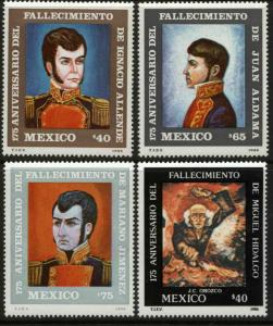 MEXICO 1445-1448, 175th Death Anniv Heroes of Independence. MINT, NH. F-VF.