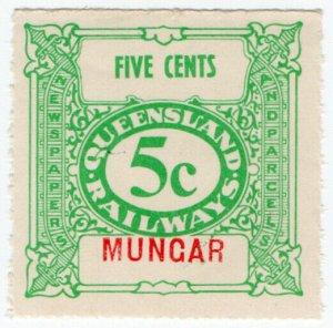(I.B) Australia - Queensland Railways : Parcel Stamp 5c (Mungar)