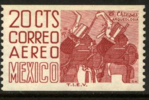 MEXICO C347, 20cts 1950 Def 4th Issue Fluoresc uncoated COIL. MINT, NH. F-VF.