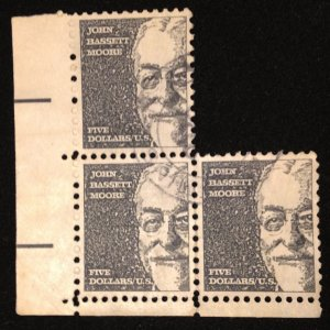 US Scott 1295 Zip Block Of Three Tagged - Used John  Basset Moore F-VF