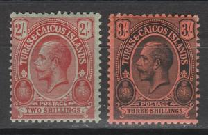 TURKS & CAICOS ISLANDS 1913 KGV CACTUS 2/- AND 3/- TOP 2 VALUES