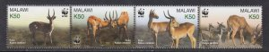 Malawi # 714, WWF - Kobus, Folded Strip of Four, NH, 1/2 Cat.