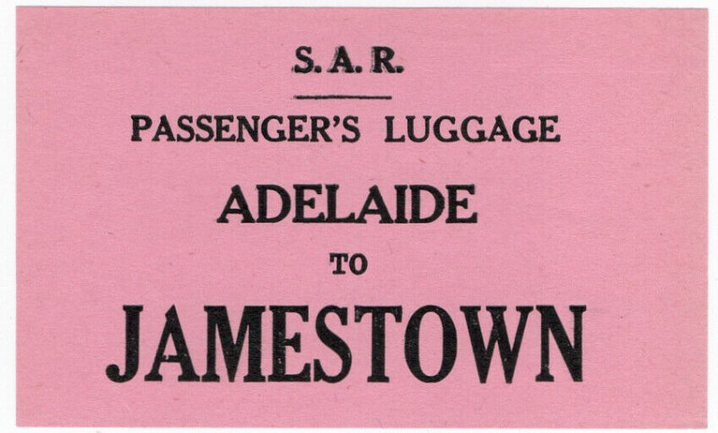 (I.B) Australia - South Australia Railways : Luggage Label (Jamestown)