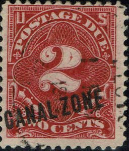 CANAL ZONE #J2 1914 CANAL ZONE OVERPRINT ON U.S. 2 CENT POSTAGE DUE ISSUE--USED