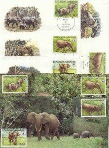 Gabon 8 FDC/cards WWF/Elephants 1988