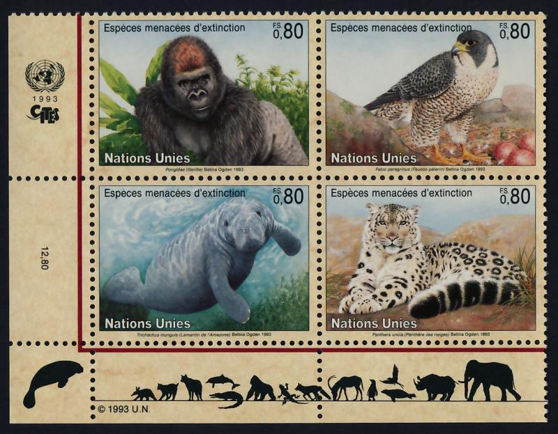 United Nations - Geneva 231a BL Block MNH Wild Animals, Gorilla, Leopard, Falcon