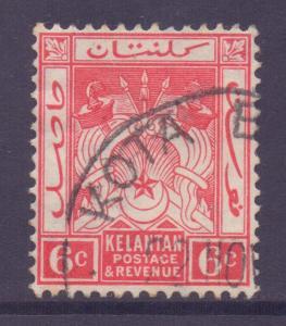 Malaya Kelantan Scott 22 - SG19a, 1921 Script CA 6c Scarlet  used