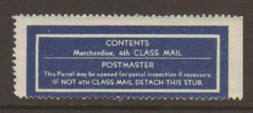United States 4th Class Mailing Label Blue & White