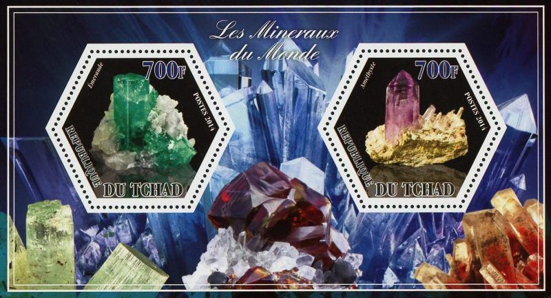 Chad Mineral Emeraude Amethyste Crystal Souvenir Sheet of 2 Stamps Mint NH