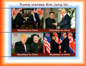 Chad 2018 President Donald Trump Visits Kim Jong Un Korea 4v MNH S/S. (#94)