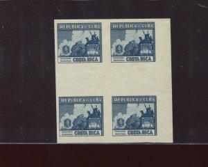 CUBA 346P VARIETY 1937 4c Costa Rica Imperf Blue Plate Proof Gutter  BLOCK