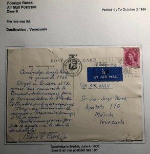 1960 Cambridge England Airmail Greetings Postcard Cover To Merida Venezuela