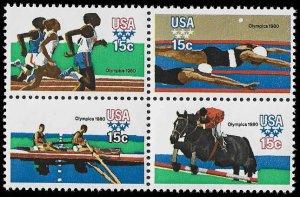 PCBstamps     US #1791/1794a Block 60c(4x15c)Summer Olympics, MNH, (11)