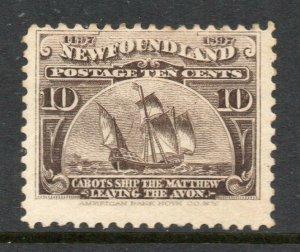 Newfoundland 1897 Anniv Discovery 10c Mathew Ship, Cabot SG 73 mint CV £45