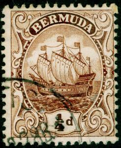 BERMUDA SG44, 1/4 brown, USED, CDS. WMK MULT CA