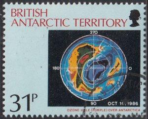 British Antarctic Territory 1991 used Sc #178 31p Ozone hole over Antarctica