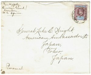 Sierra Leone 1907 Freetown cancel on cover to the U.S. ambassador in JAPAN