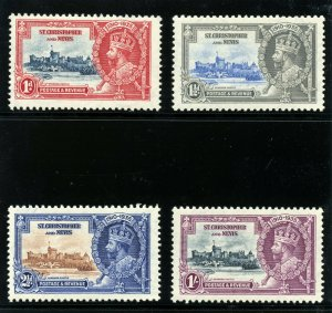 St Kitts-Nevis 1935 KGV Silver Jubilee set complete MLH. SG 61-64. Sc 72-75.