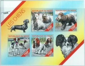 Niger MNH S/S 1535 Dogs Spaniel Terrier Basset Hound 2014 Unique Design