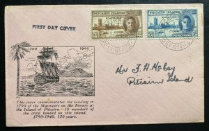 1946 Pitcairn Island First Day cover FDC Peace Issue Stamps