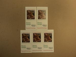 USPS Scott 2429a 25c 1989 Christmas Carracci 5 Books Of 2...