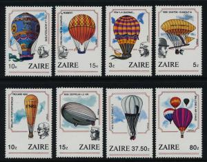 Zaire 1160-7 MNH Hot Air Balloons, Airships, Balloons