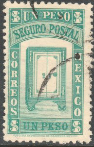 MEXICO G3, $1PESO INSURED LETTER. USED. F-VF (968)
