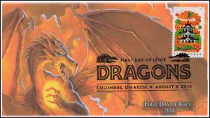18-176, 2018, Dragons, First Day Cover, Pictorial Postmark, Orange Dragon